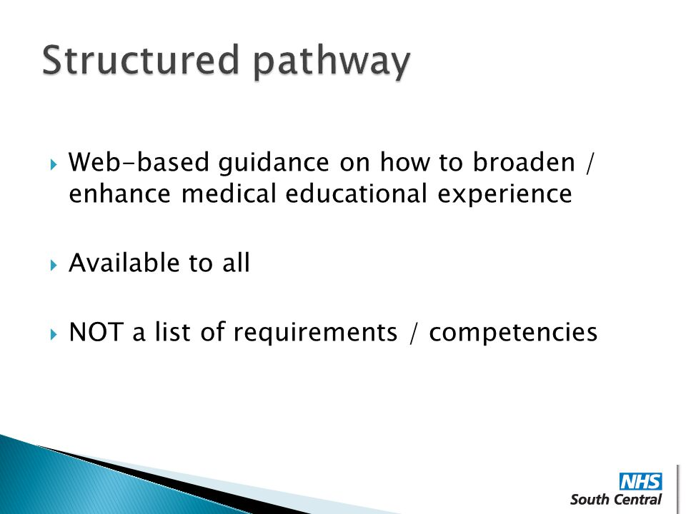 Structured pathway Web-based guidance on how to broaden / enhance medical educational experience. Available to all.