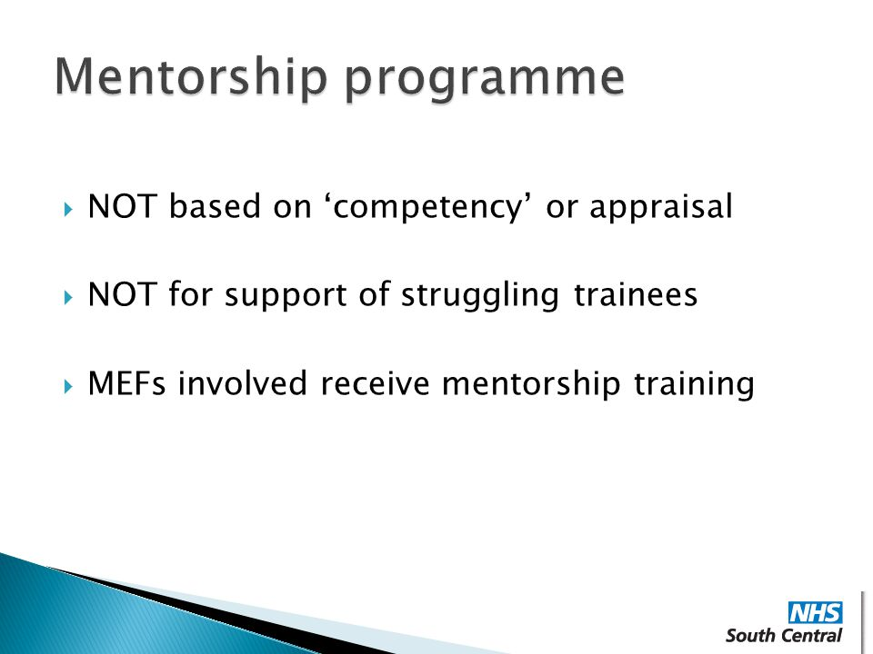 Mentorship programme NOT based on 'competency' or appraisal