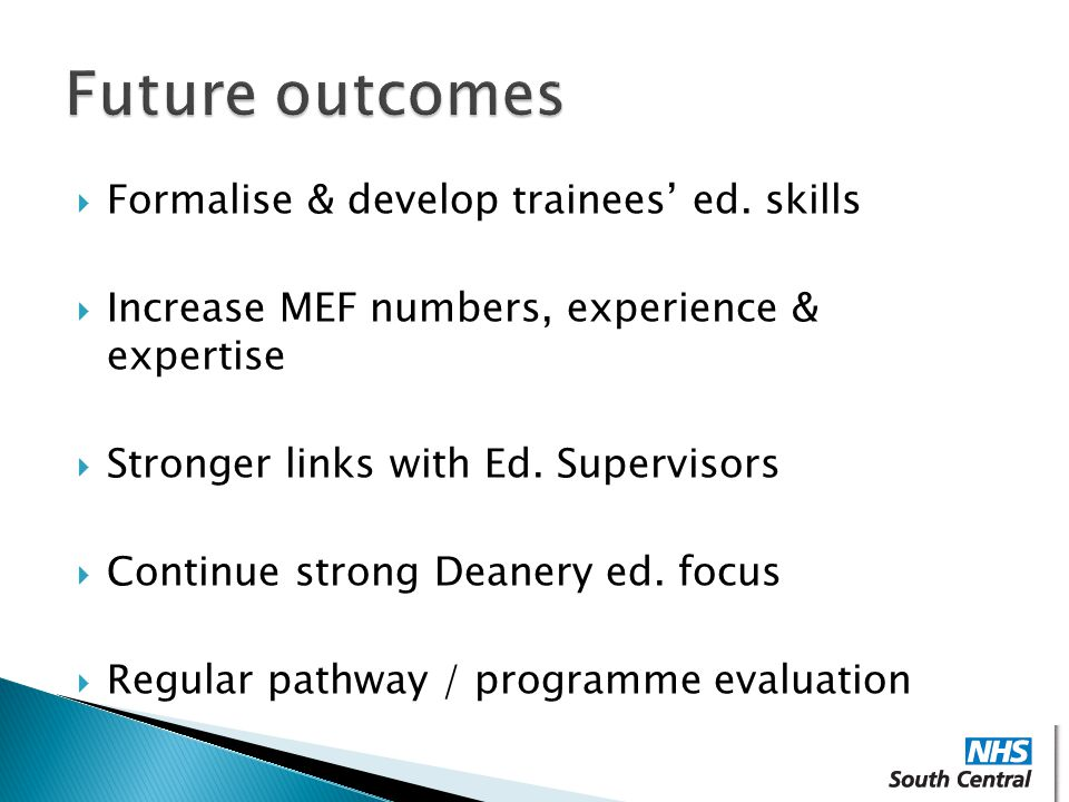 Future outcomes Formalise & develop trainees' ed. skills