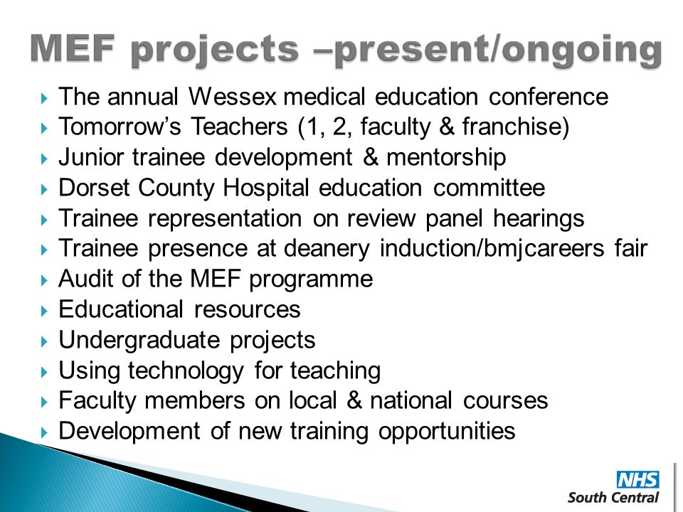 MEF projects –present/ongoing