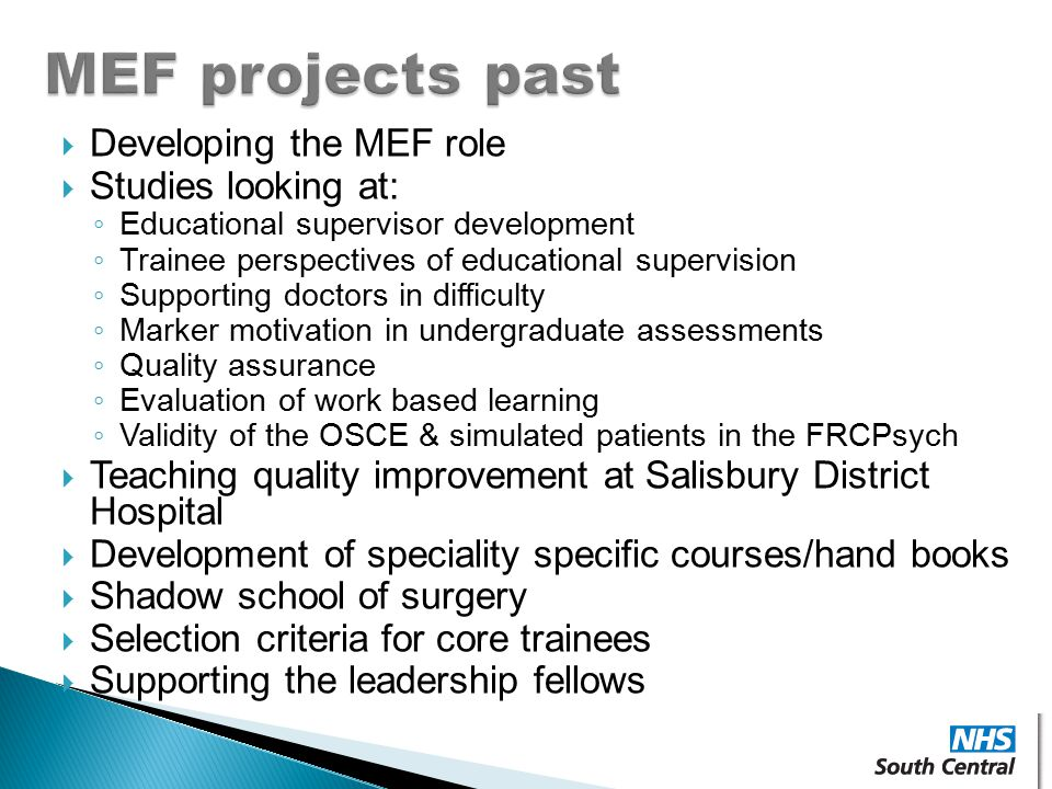 MEF projects past Developing the MEF role Studies looking at: