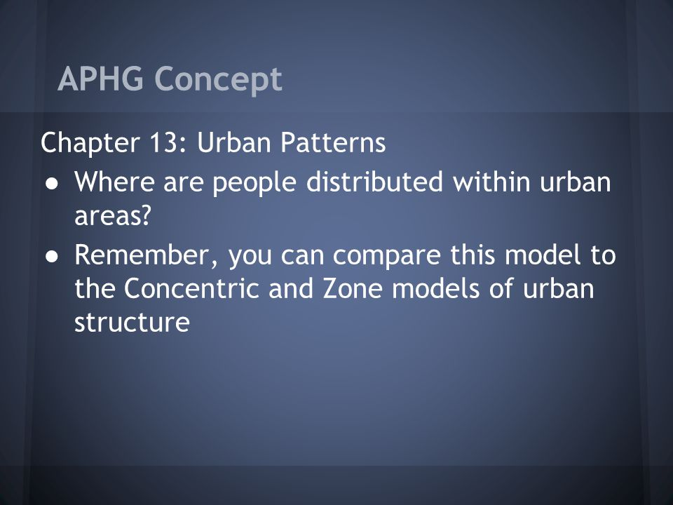 APHG Concept Chapter 13: Urban Patterns