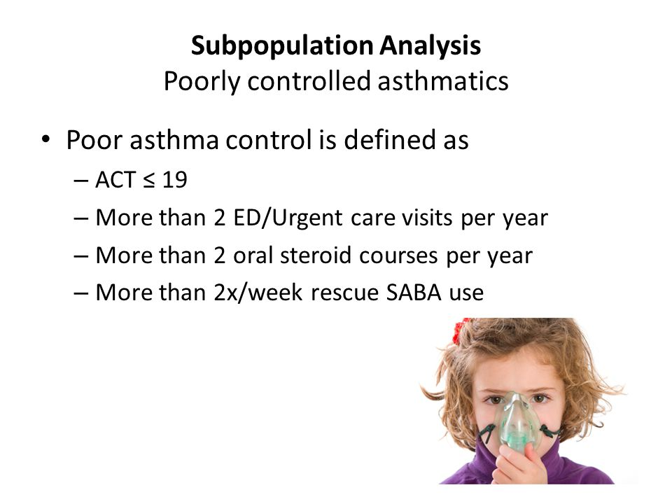 Subpopulation Analysis Poorly controlled asthmatics