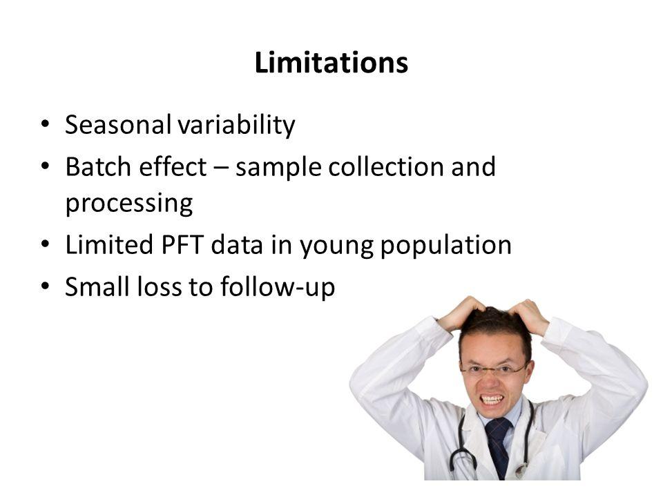 Limitations Seasonal variability