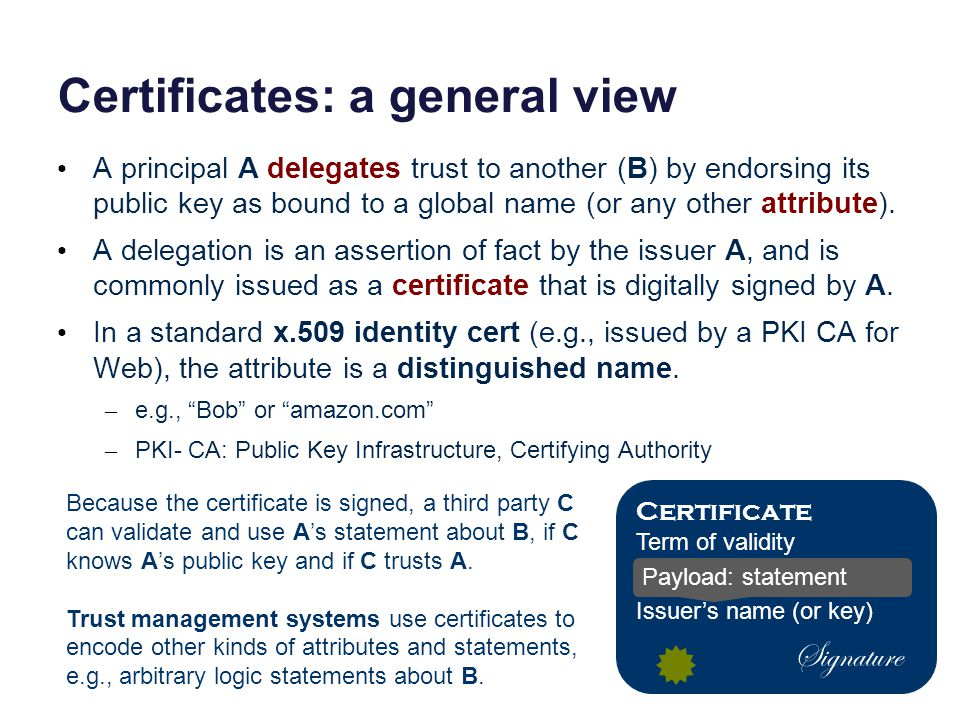 Certificates: a general view