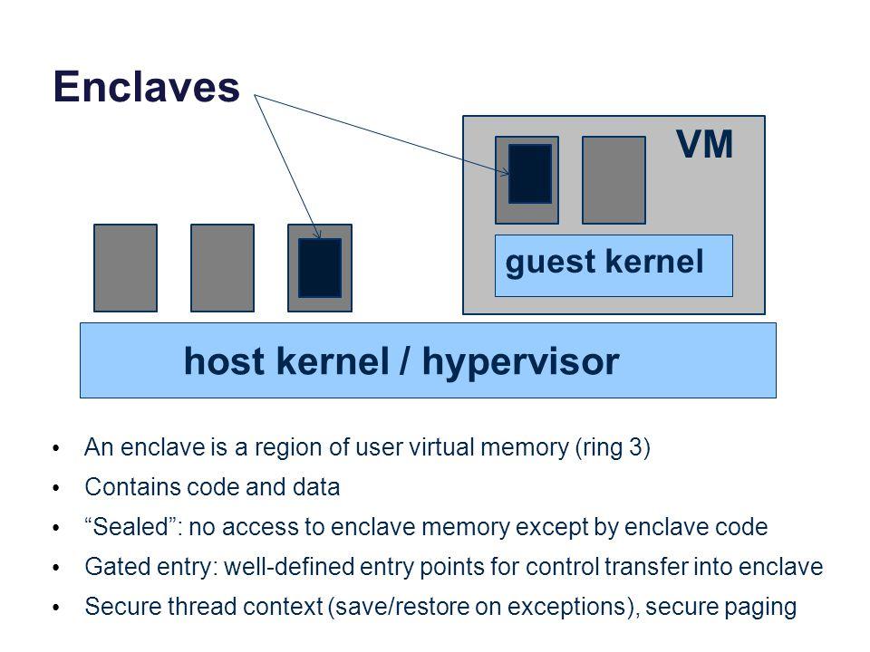 Enclaves VM host kernel / hypervisor guest kernel