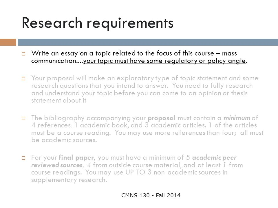 Research requirements