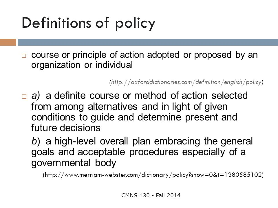 Definitions of policy course or principle of action adopted or proposed by an organization or individual.