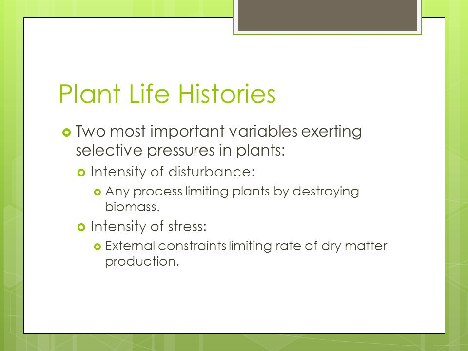 Plant Life Histories Two most important variables exerting selective pressures in plants: Intensity of disturbance: