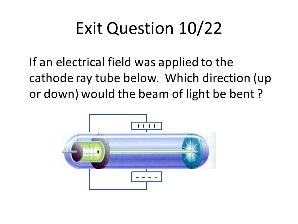 Exit Question 10/22 If an electrical field was applied to the cathode ray tube below. Which direction (up or down) would the beam of light be bent