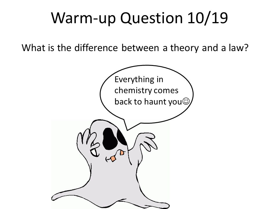 Warm-up Question 10/19 What is the difference between a theory and a law.