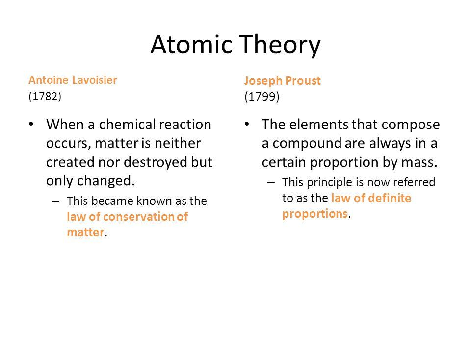 Atomic Theory Antoine Lavoisier. (1782) Joseph Proust. (1799)