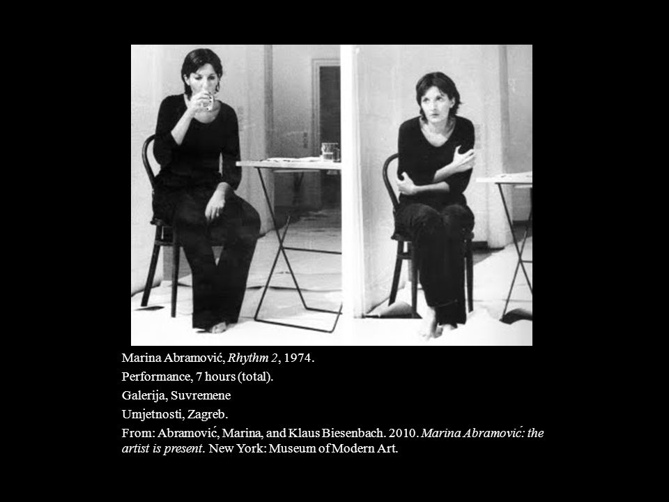 Marina Abramović, Rhythm 2, 1974.