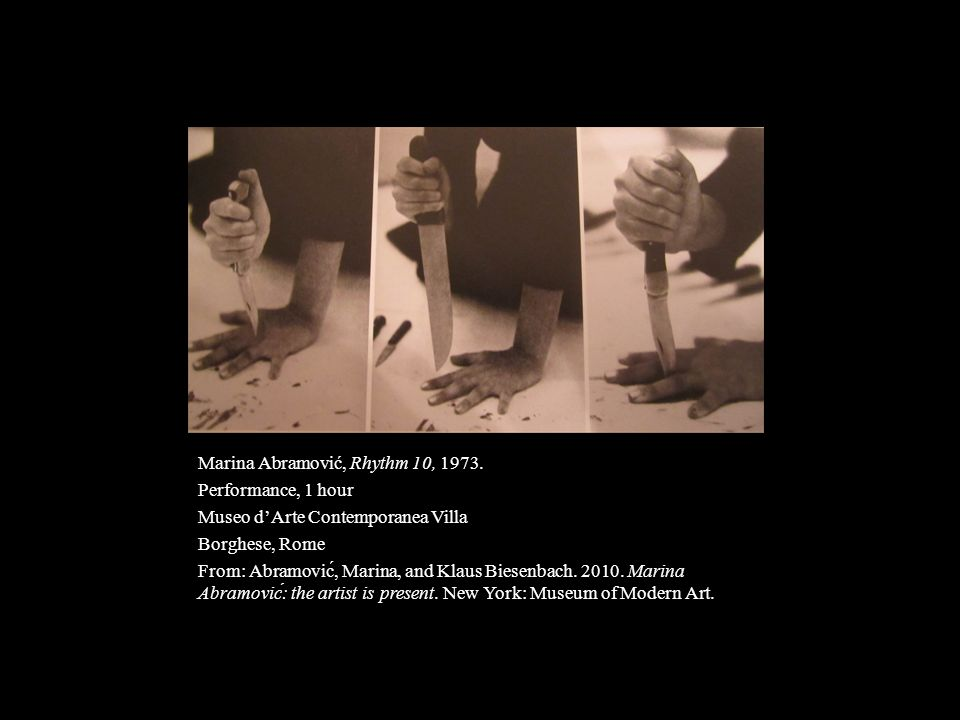 Marina Abramović, Rhythm 10, 1973.
