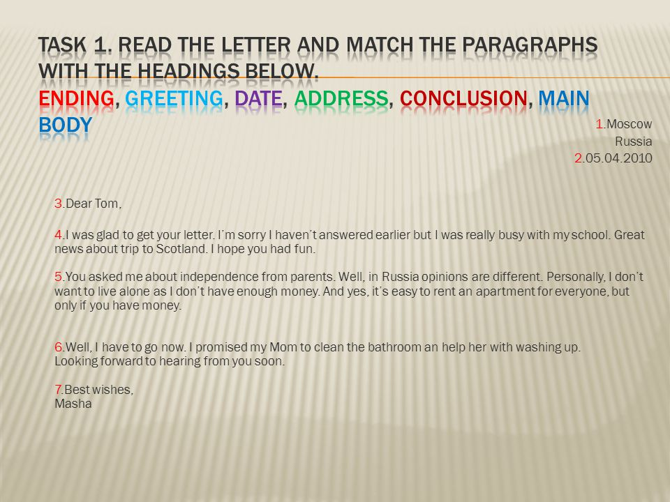 Task 1. Read the letter and match the paragraphs with the headings below. ending, greeting, date, address, conclusion, main body