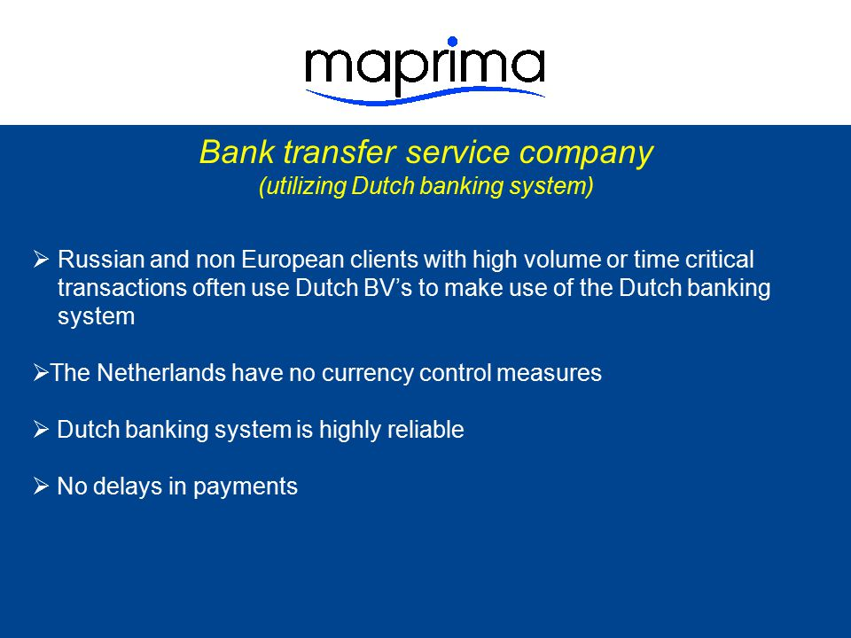 Bank transfer service company