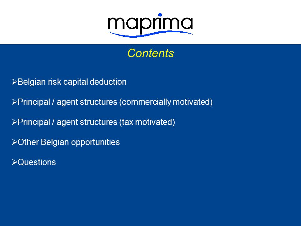 Contents Belgian risk capital deduction