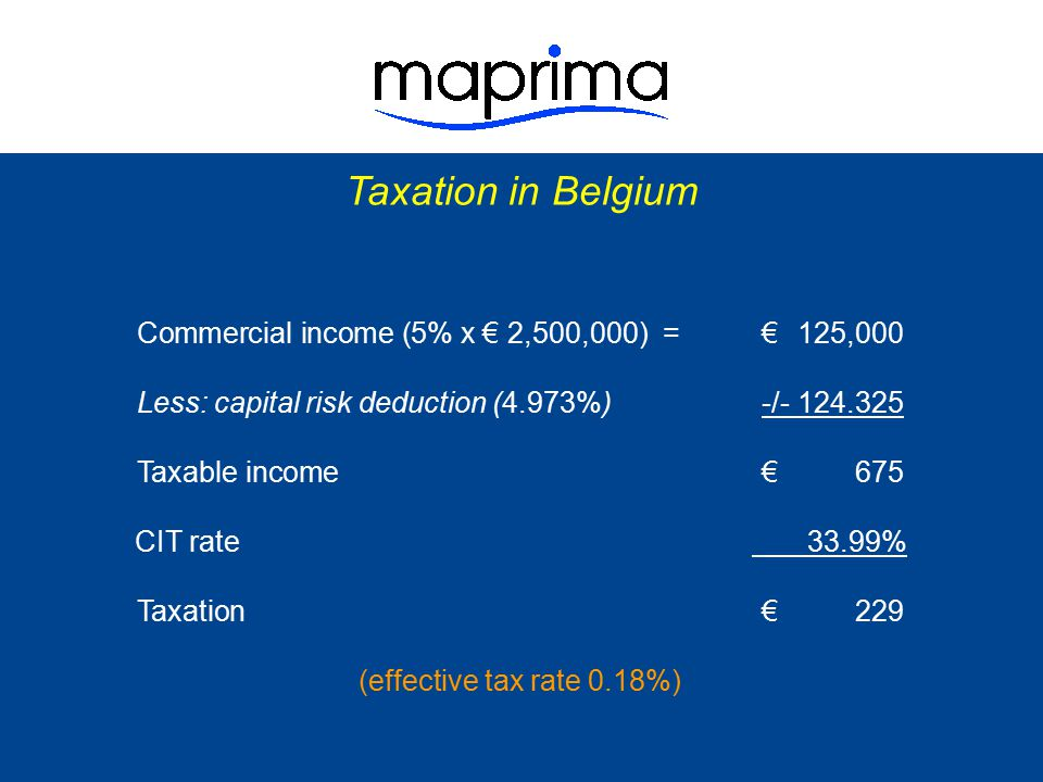 Taxation in Belgium Commercial income ( 5% x € 2,500,000) = € 125,000