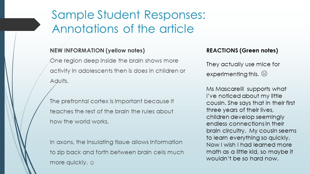 Sample Student Responses: Annotations of the article