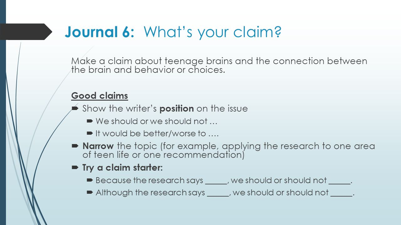 Journal 6: What's your claim