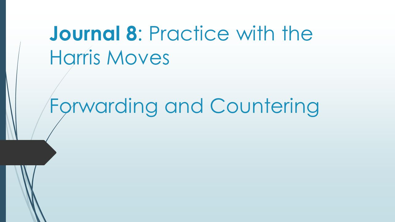 Journal 8: Practice with the Harris Moves Forwarding and Countering