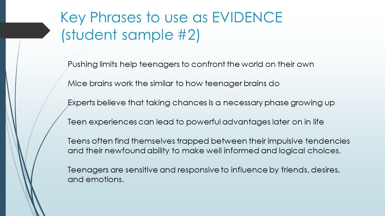 Key Phrases to use as EVIDENCE (student sample #2)