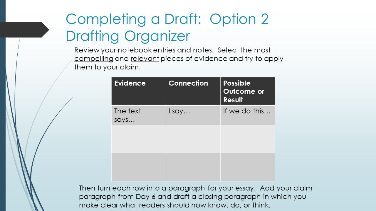 Completing a Draft: Option 2 Drafting Organizer