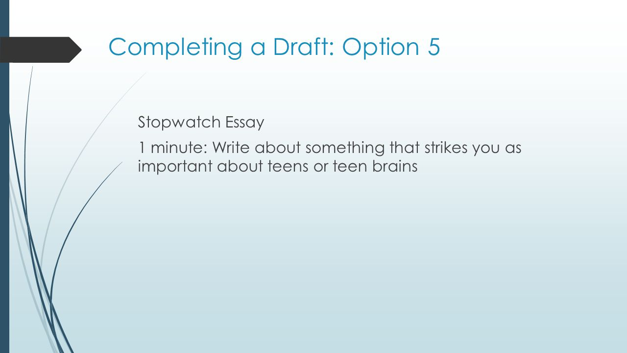 Completing a Draft: Option 5