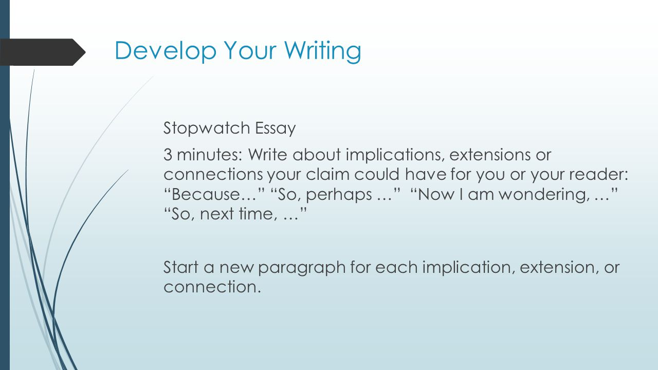 Develop Your Writing