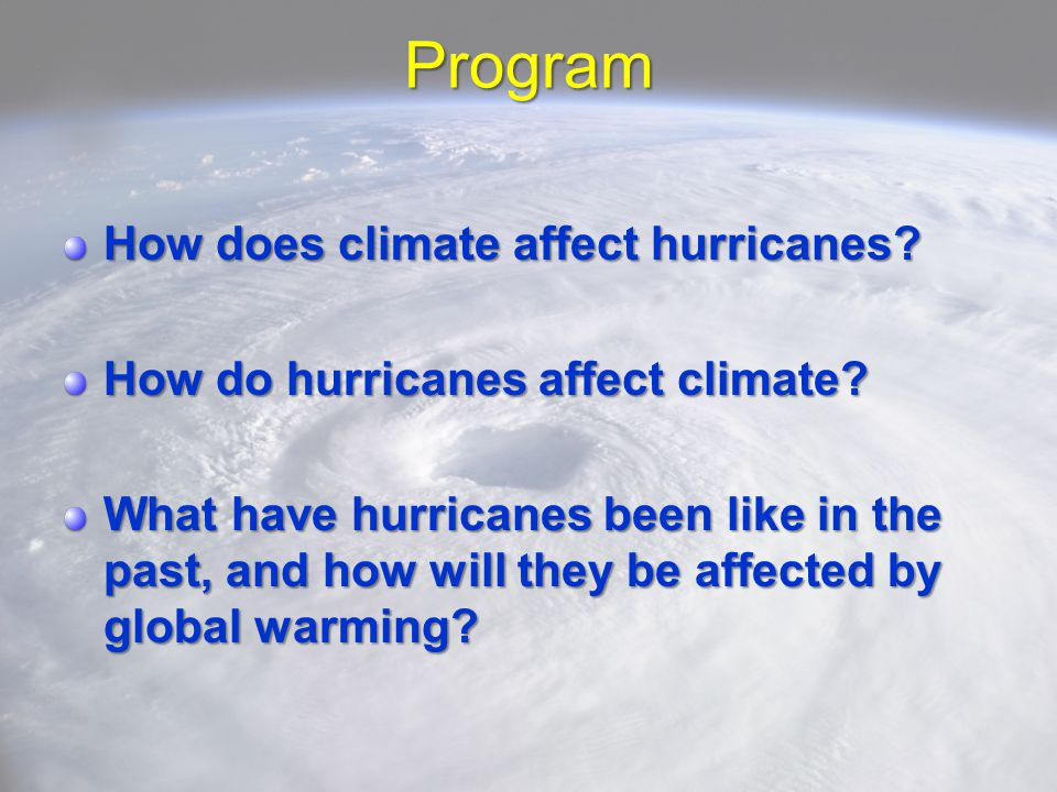 Program How does climate affect hurricanes