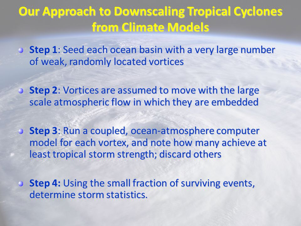 Our Approach to Downscaling Tropical Cyclones from Climate Models