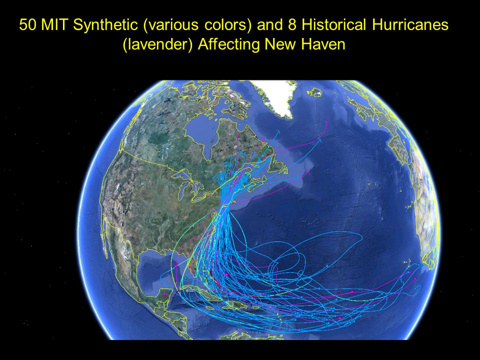 50 MIT Synthetic (various colors) and 8 Historical Hurricanes (lavender) Affecting New Haven
