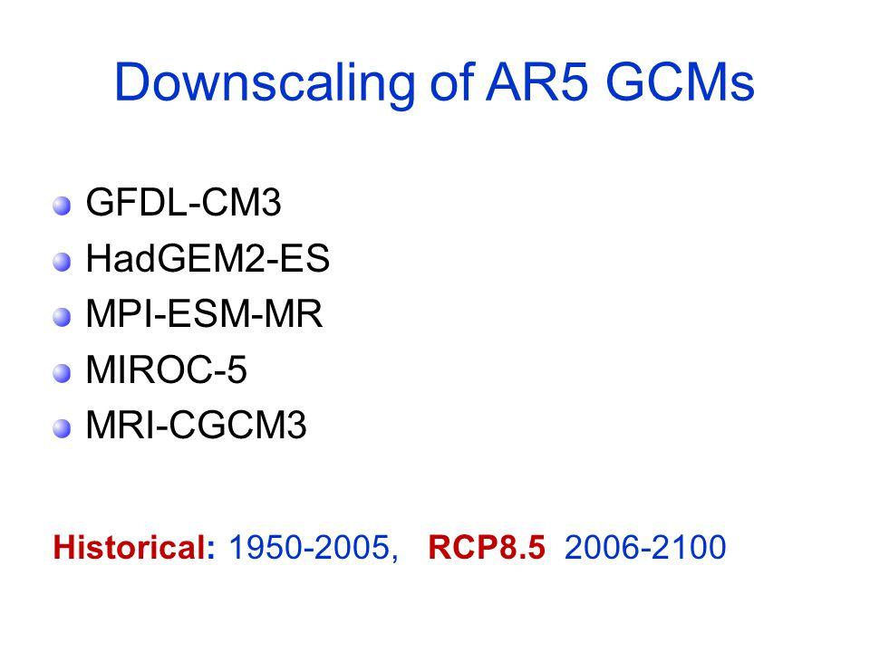 Downscaling of AR5 GCMs GFDL-CM3 HadGEM2-ES MPI-ESM-MR MIROC-5