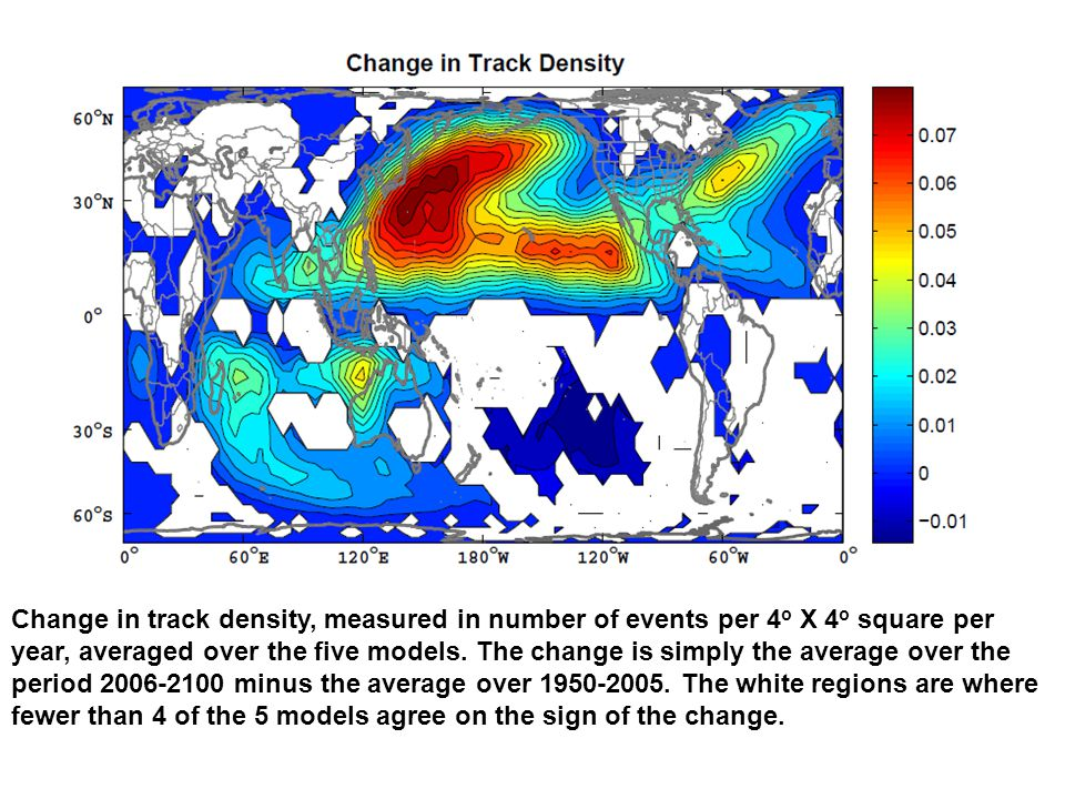 Change in track density, measured in number of events per 4o X 4o square per year, averaged over the five models.