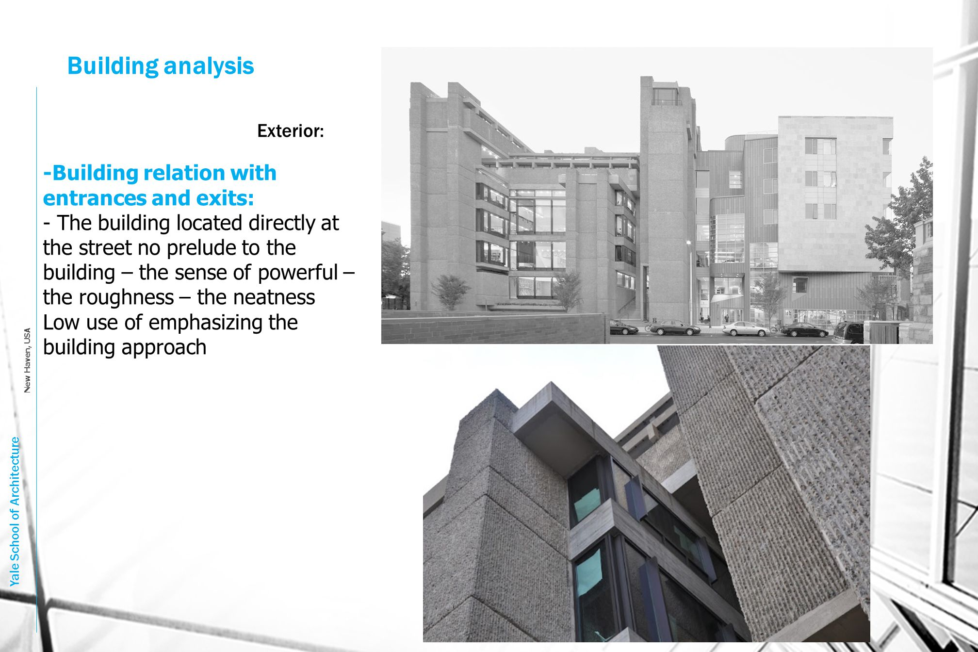 Building analysis -Building relation with entrances and exits: