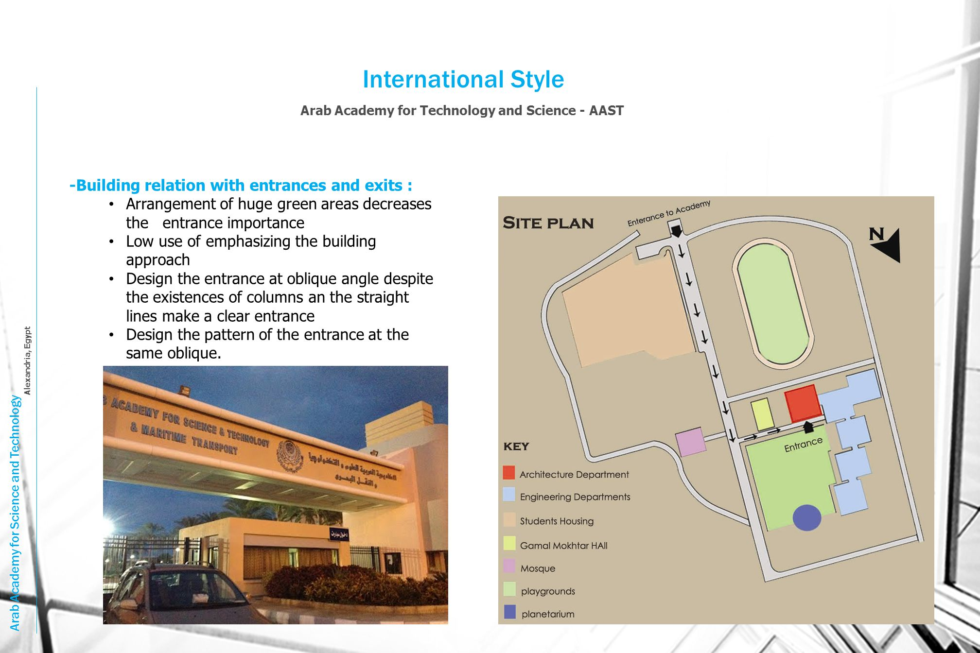 International Style -Building relation with entrances and exits :