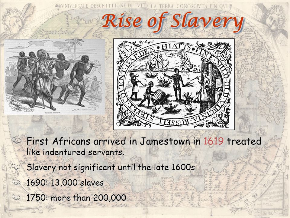 Rise of Slavery First Africans arrived in Jamestown in 1619 treated like indentured servants. Slavery not significant until the late 1600s.