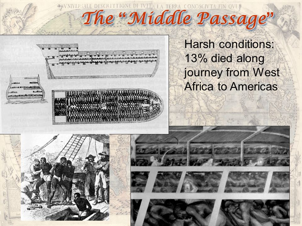 The Middle Passage Harsh conditions: 13% died along journey from West Africa to Americas