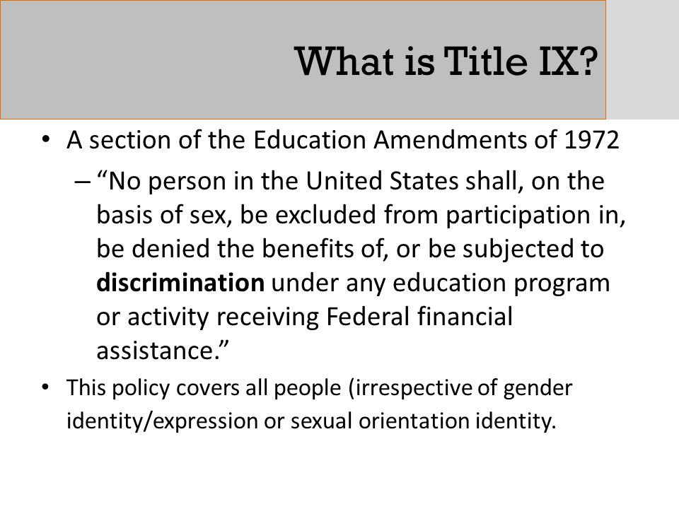 What is Title IX A section of the Education Amendments of 1972