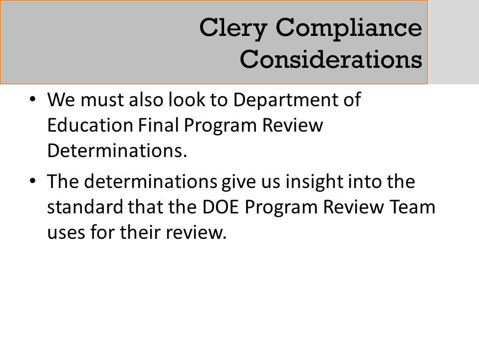 Clery Compliance Considerations