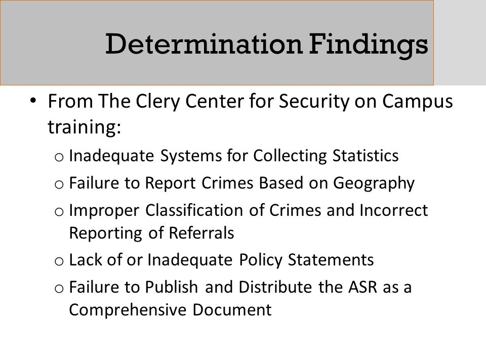 Determination Findings