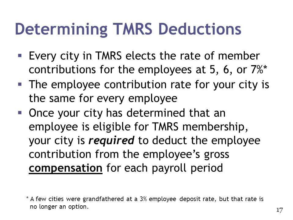 Determining TMRS Deductions