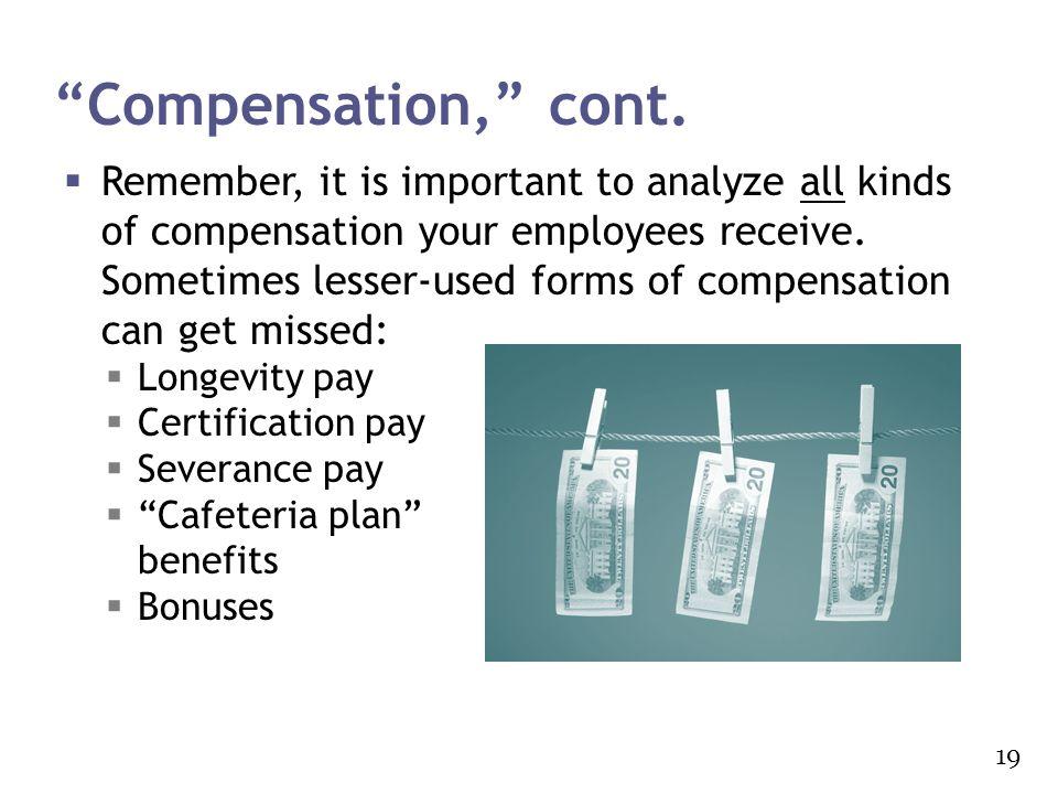 Compensation, cont.
