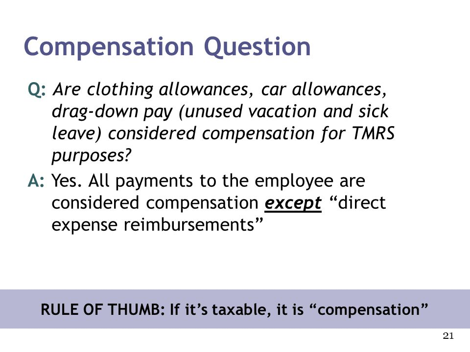 Compensation Question