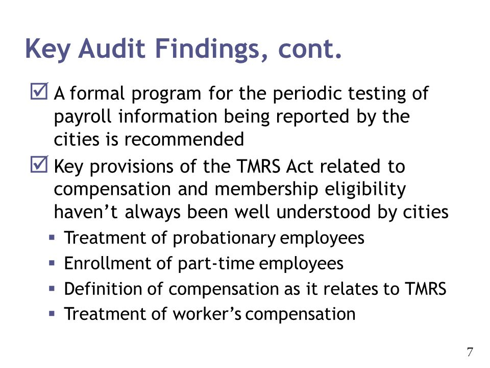 Key Audit Findings, cont.