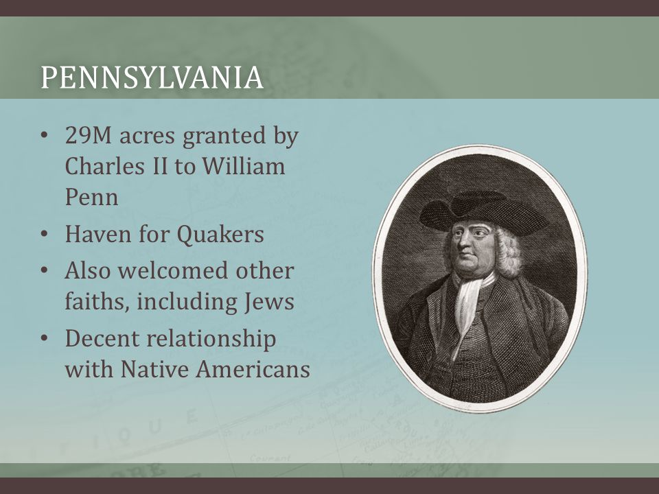 pennsylvania 29M acres granted by Charles II to William Penn