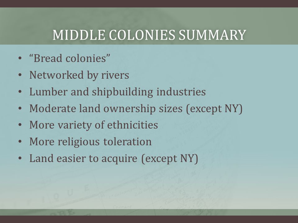Middle colonies summary