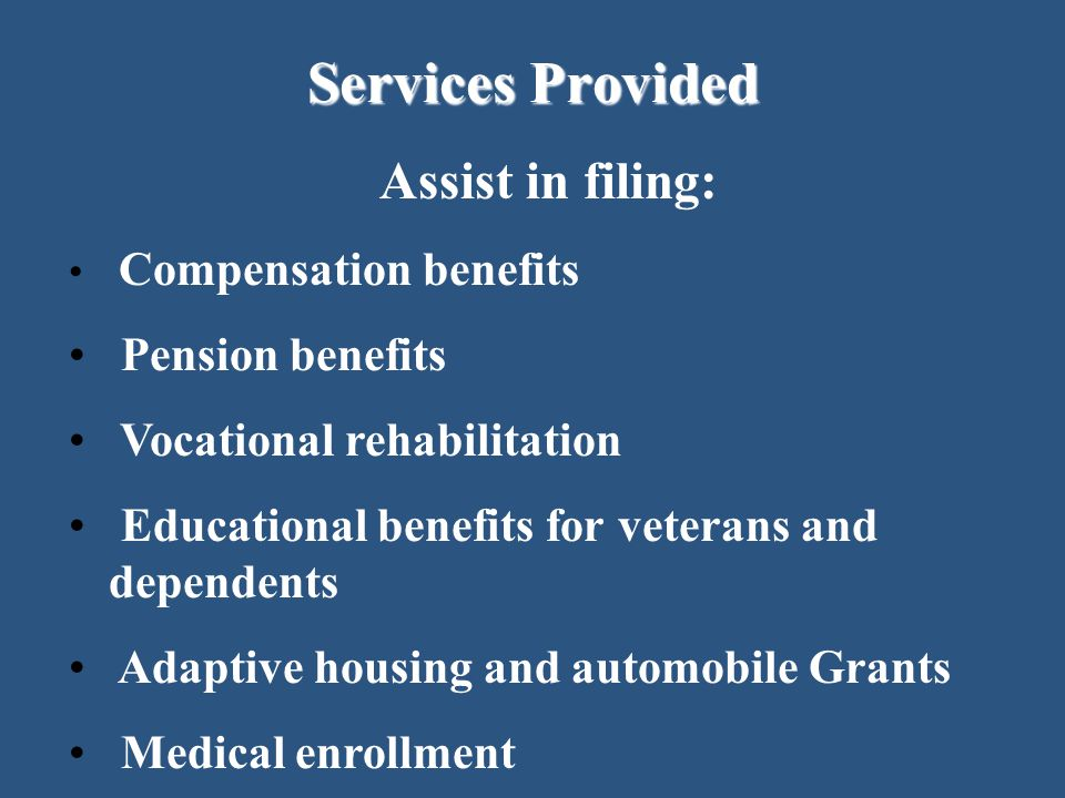 Services Provided Assist in filing: Pension benefits