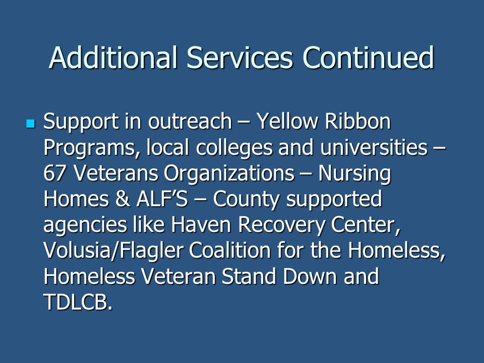 Additional Services Continued