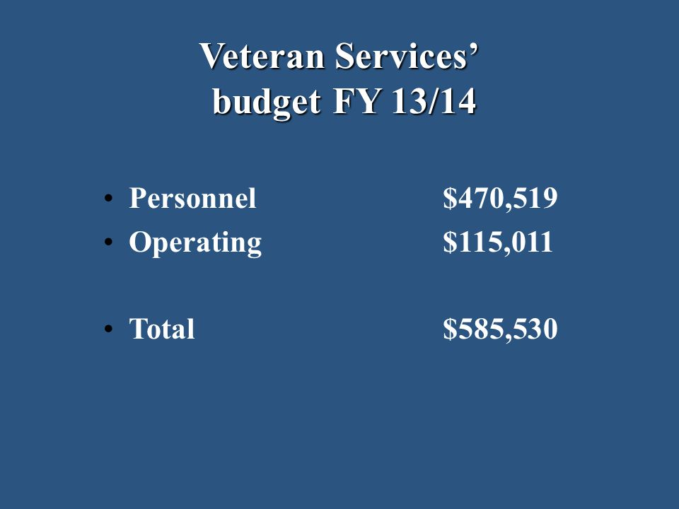 Veteran Services' budget FY 13/14